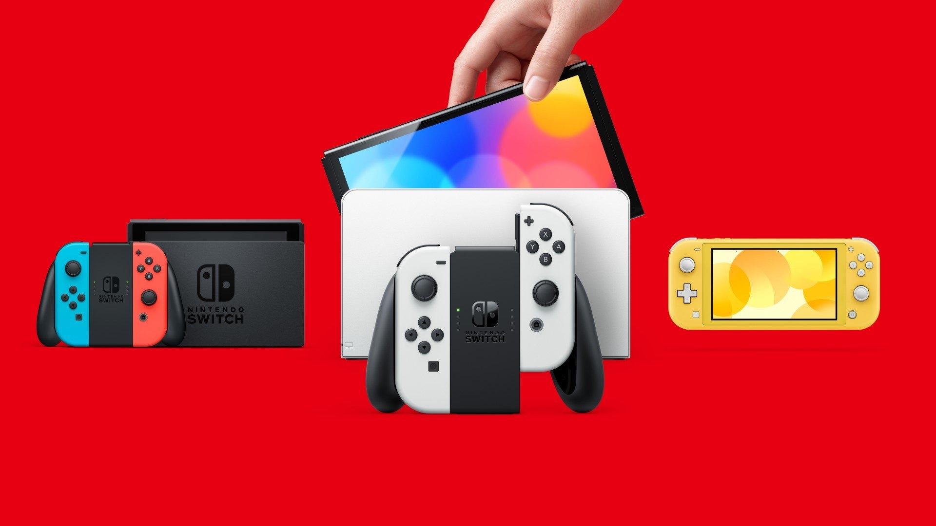 De izquierda a derecha: Nintendo Switch, Nintendo Switch OLED Model, Nintendo Switch Lite.